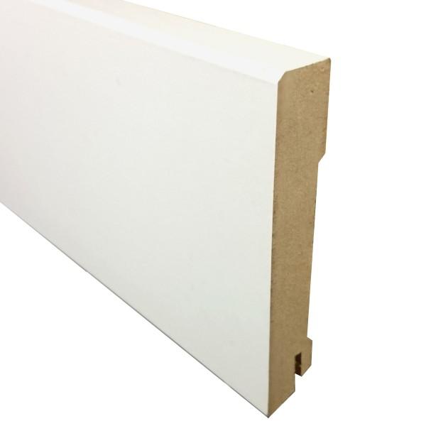 TRECOR® Sockelleiste, Fußleiste, Laminatsockelleiste 18 x 100 mm mit rechteckigem Profil, Weiß