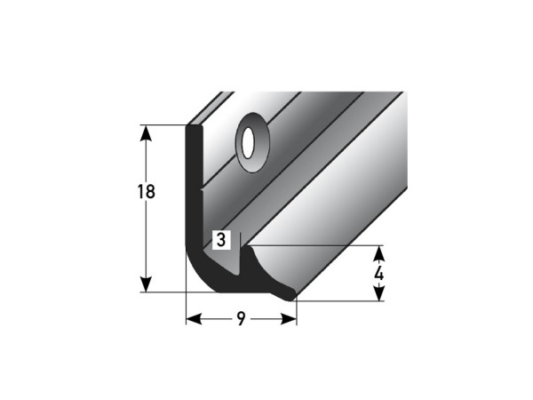 ufitec® Treppeninneneckenprofil für Vinylböden für Belagshöhen von 3 mm - Alu eloxiert