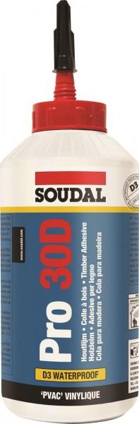 Soudal Holzleim Pro 30D, Dispersionsklebstoff, Wasserfester Weißleim, D3