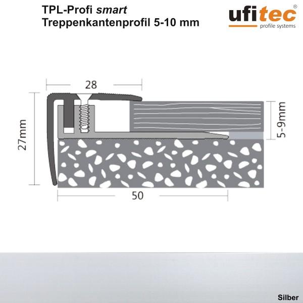 ufitec® Treppenkantenprofil - TPL PROFI smart - Belagshöhen 5-10 - Sichtkante: 28 mm, Nase: 27 mm