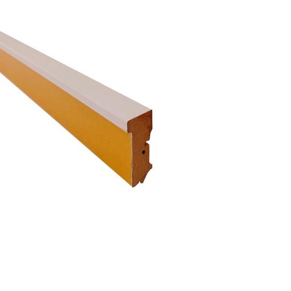 Sockelleiste mit Ausfräsung für Kork- und Designböden, 18 x 50 mm, weiß und edelstahleffekt