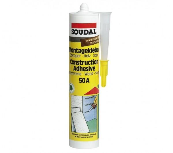 Soudal 50 A Montagekleber für Sockelleisten, Kraftkleber, weiß, Kartusche a 310 ml