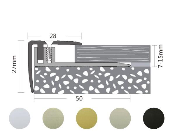 ufitec® Treppenkantenprofil - TPL PROFI - für Belagshöhen von 7-16 - Sichtkante: 28 mm, Nase: 27 mm