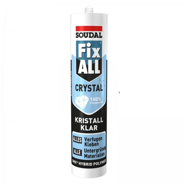 Soudal Fix All Crystal - Kristallklarer Kleb-Dichtstoff, Kraftkleber, Kartusche a 300g
