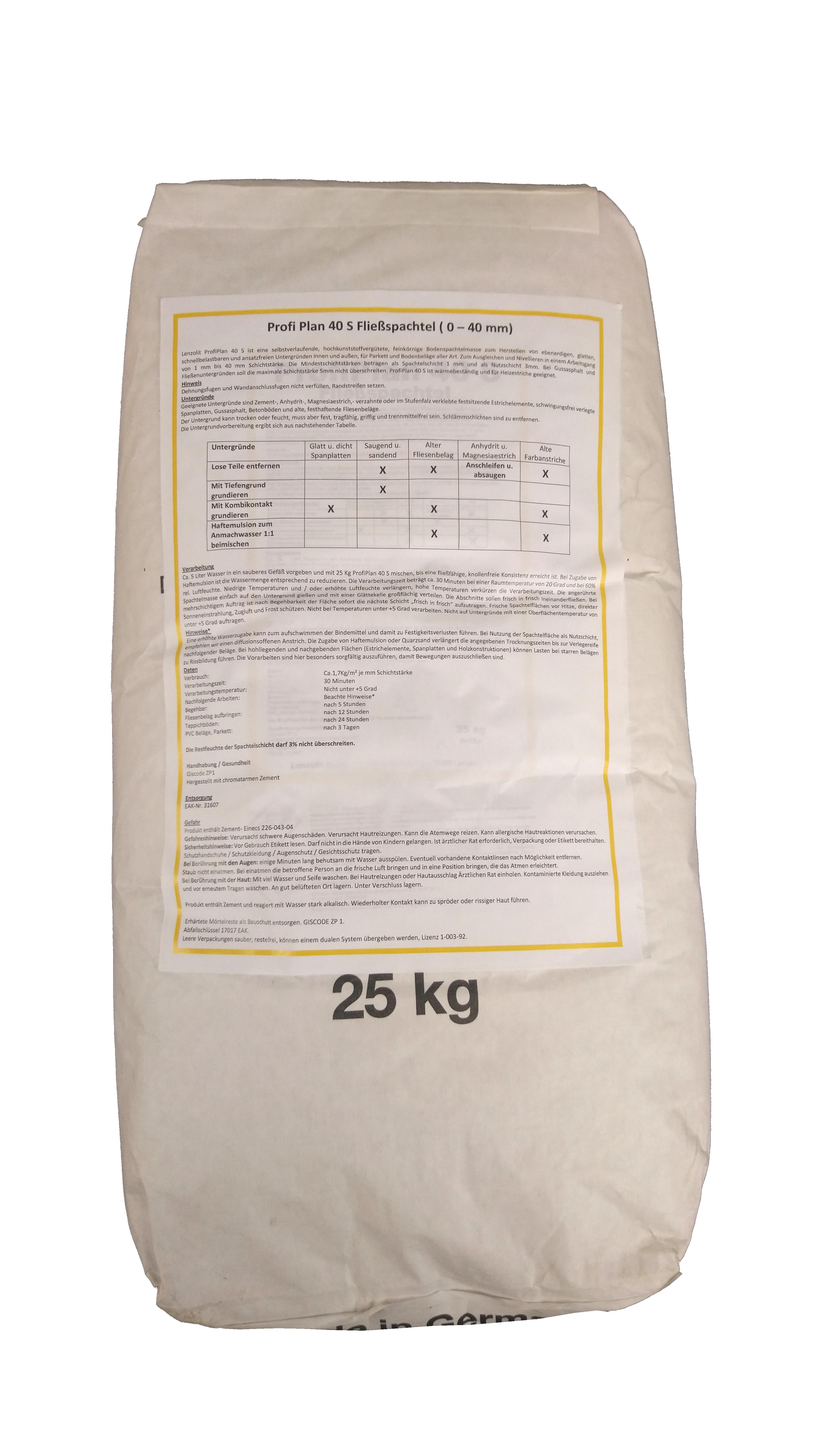 Bekannt PROFI PLAN 40 S Fließspachtel grau für Schichtstärken von 1-40 mm CN07