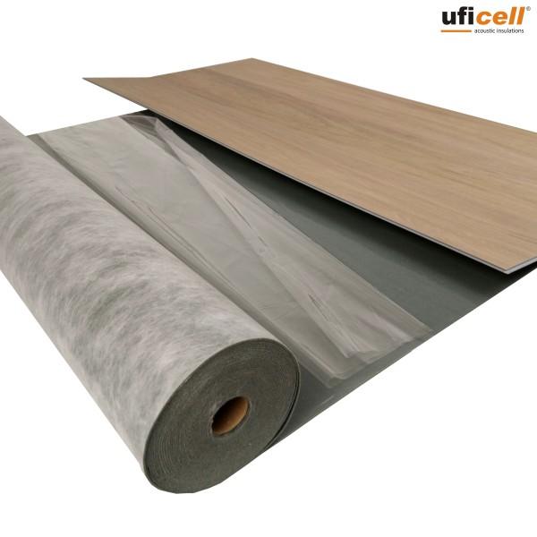 uficell® VINOSOUND FIX Vinyl Trittschalldämmung mit Haftbeschichtung - Dichte: 1000 kg/m³