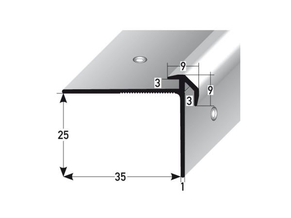 ufitec® Treppenkantenprofil beidseitig für Vinylböden für Belagshöhen von 3 mm - Alu eloxiert
