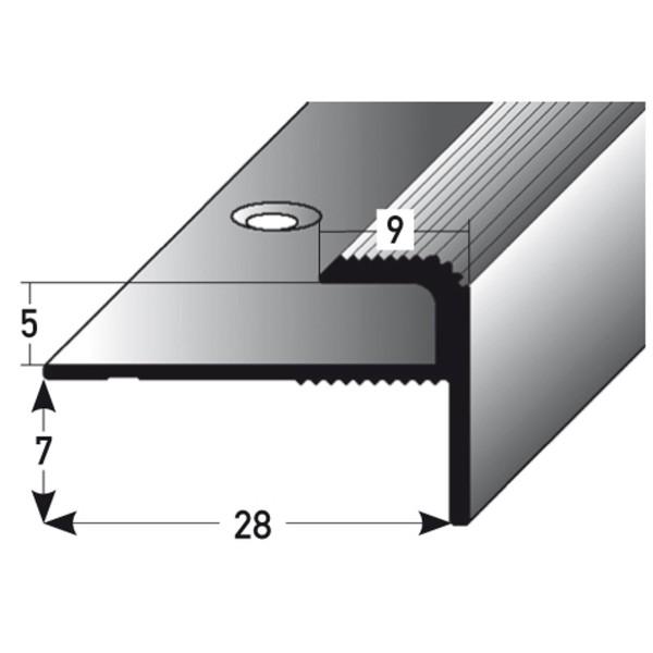 ufitec® Einschubprofil für Belagshöhen bis 5 mm   7 mm Nase Treppen-/Stufen Abschlussprofil