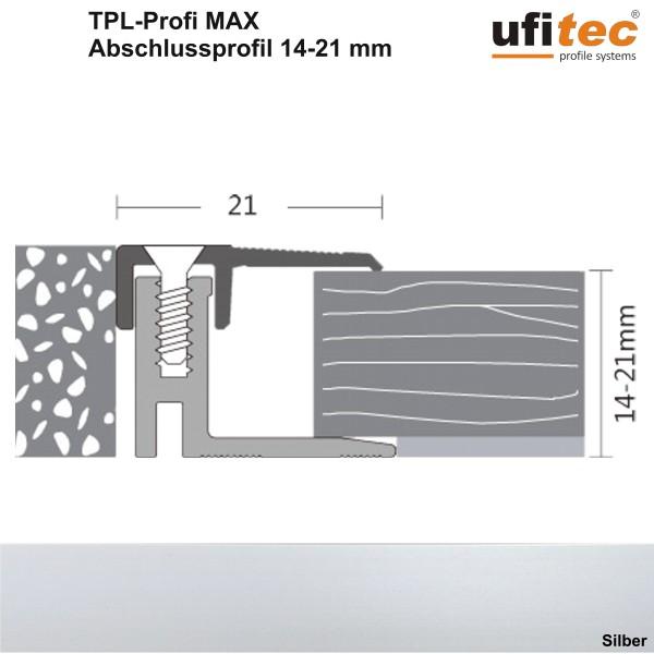 Abschlußprofil ufitec® TPL-PROFI maxx für Parkettböden - von Belagshöhen 14-21 mm
