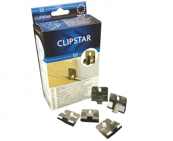 CLIPSTAR Montageclip / Befestigungsclip für Trecor Sockelleisten mit Clipstar Fräsung, 50 er Pack