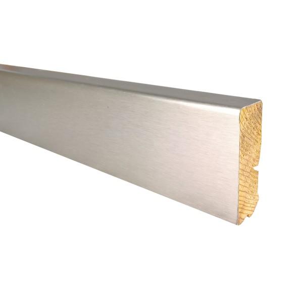 TRECOR® Edelstahl Fußleiste 18 x 65 mm, Holz Sockelleiste,Parkettleiste furniert, Edelstahlummantelt