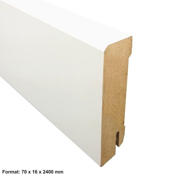 TRECOR® Sockelleiste, Fußleiste, Laminatsockelleiste 16 x 70 mm mit rechteckigem Profil, Weiß