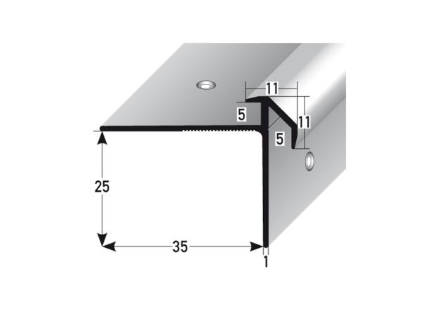 ufitec® Treppenkantenprofil beidseitig für Vinylböden für Belagshöhen von 5 mm - Alu eloxiert