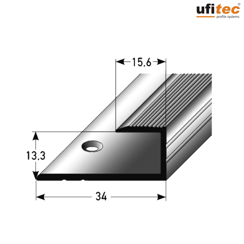 ufitec einschubprofile abschlussprofile f r belagsh hen von 8 15 mm alu eloxiert. Black Bedroom Furniture Sets. Home Design Ideas