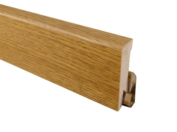 Parkettleiste Eiche angeräuchert, Holz Sockelleiste, furniert, Format: 16 x 58 mm, geölt / lackiert