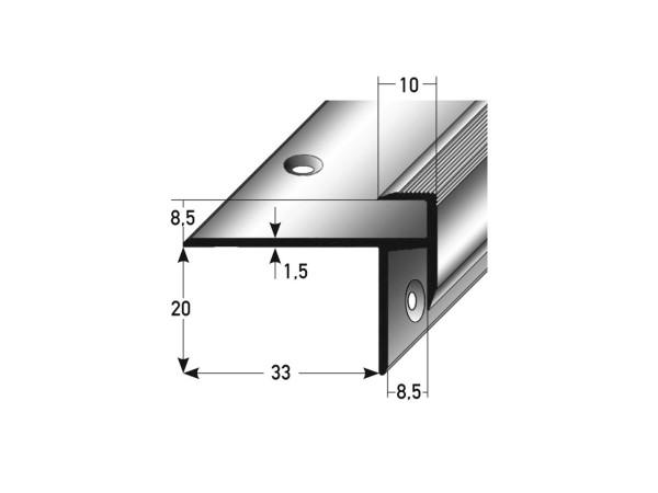 ufitec® Treppenkantenprofil beidseitig für Laminat u. Parkett - Belagshöhen von 8,5 mm Alu eloxiert