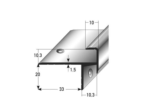 ufitec® Treppenkantenprofil beidseitig für Laminat u. Parkett - Belagshöhen von 10,3 mm-Alu eloxiert