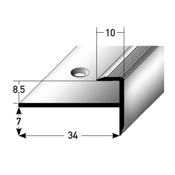ufitec® Einschubprofil für Belagshöhen bis 8,5 mm | 7 mm Nase Treppen-/Stufen Abschlussprofil
