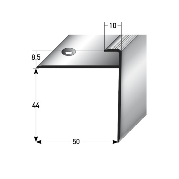 ufitec® Einschubprofil für Belagshöhe bis 8,5 mm | 44 mm Nase Treppen-/Stufen Abschlussprofil