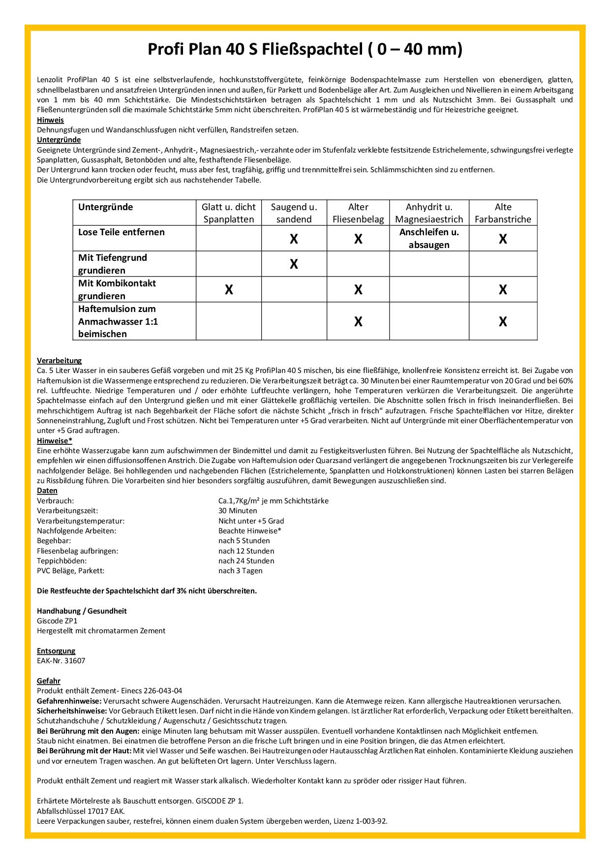 Beliebt PROFI PLAN 40 S Fließspachtel grau für Schichtstärken von 1-40 mm PW87