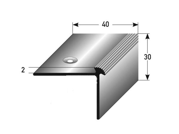 ufitec® Treppenkantenprofil beidseitig für Vinylböden für Belagshöhen von 2 mm - Alu eloxiert