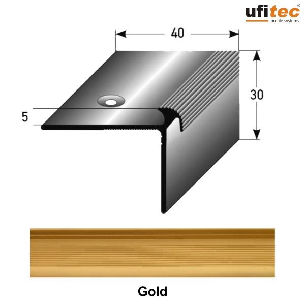 ufitec® Treppenkantenprofil beidseitig für Vinylböden für Belagshöhen von 2 - 5 mm - Alu eloxiert
