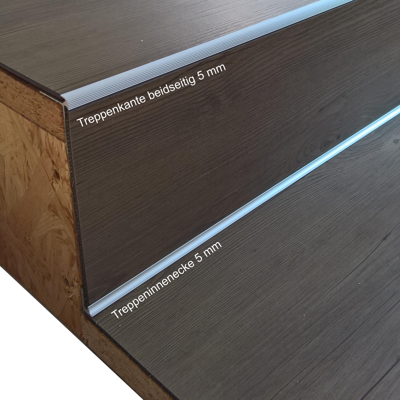 Ufitec Treppenkantenprofil Beidseitig Fur Vinylboden Von 2 5 Mm Alu Eloxiert