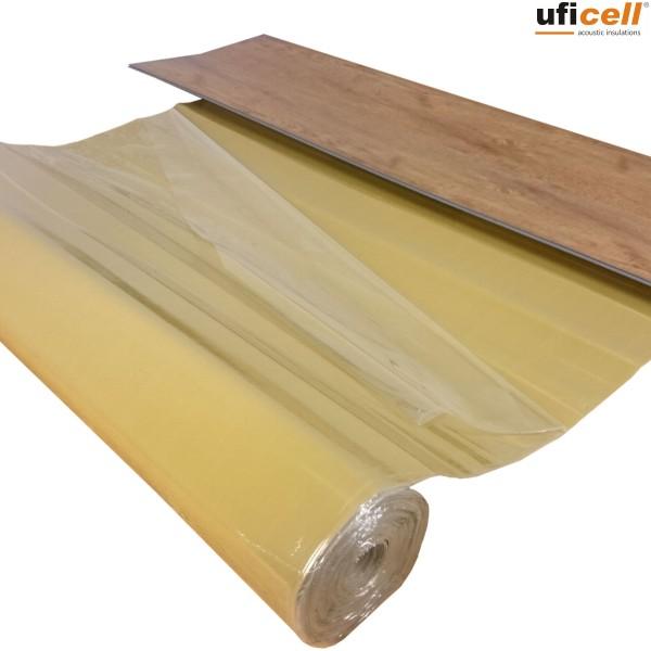 uficell® VINOSOUND FIXO Vinyl Trittschalldämmung mit Klebebeschichtung für Voll Vinyl-/LVT-Böden