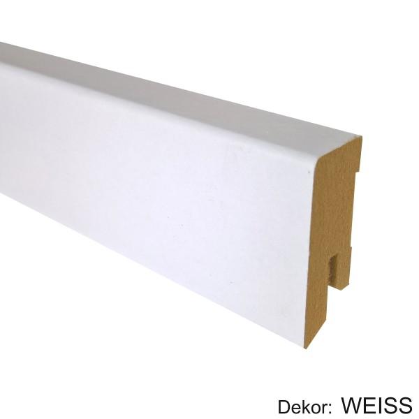 TRECOR® Sockelleiste, Fußleiste, Laminatsockelleiste 16 x 40 mm mit rechteckigem Profil, in Weiß