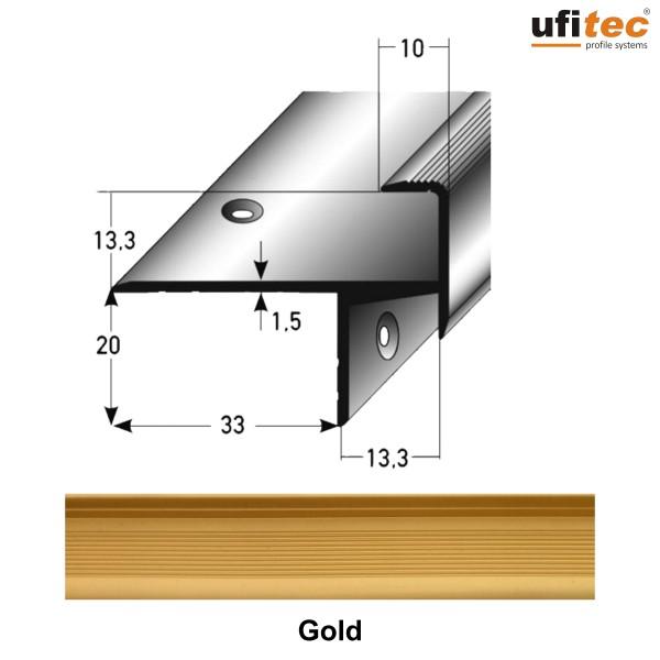 ufitec® Treppenkantenprofil beidseitig für Laminat u. Parkett - Belagshöhen von 8-15 mm-Alu eloxiert