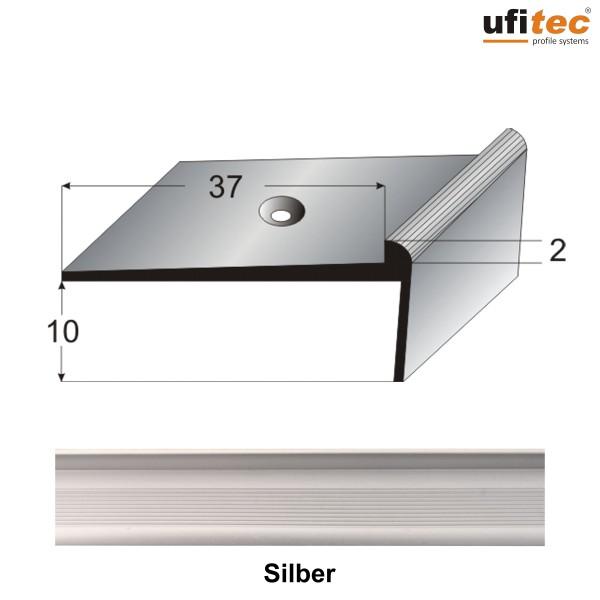 ufitec® Treppenkantenprofil mit Nase für Vinylböden für Belagshöhen von 2 mm - Alu eloxiert