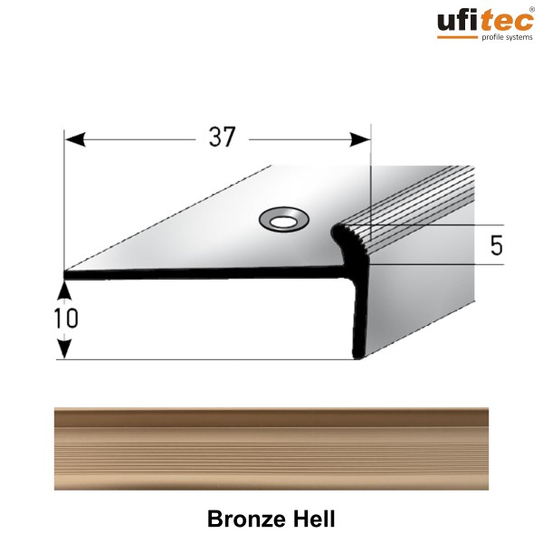 ufitec® Treppenkantenprofil mit Nase für Vinylböden für Belagshöhen von 5 mm - Alu eloxiert