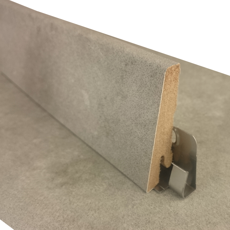 WASSERFEST - H/öhe: 60 mm Sockelleiste 1 St/ück, Eiche Rustique Grau Sockelleiste f/ür TRECOR/® Klick Vinylboden L/änge: 240 cm Tiefe: 18 mm