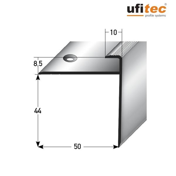 ufitec® Einschubprofil für Belagshöhe bis 8,5 mm   44 mm Nase Treppen-/Stufen Abschlussprofil