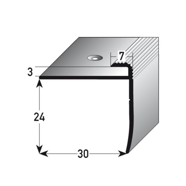 ufitec® Einschubprofil für Belagshöhen bis 3 mm mit 24 mm Nase Treppen-/Stufen Abschlussprofil