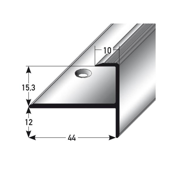 ufitec® Einschubprofil für Belagshöhen bis 15,3 mm mit 12 mm Nase Treppen-/Stufen Abschlussprofi