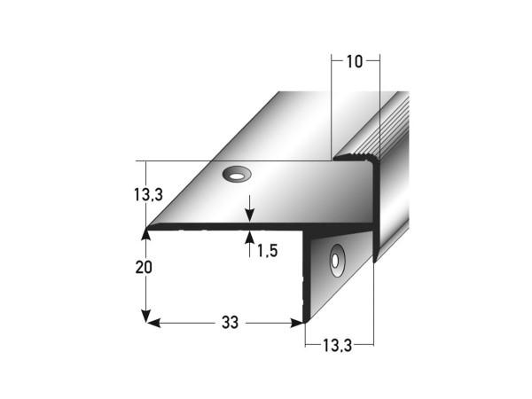 ufitec® Treppenkantenprofil beidseitig für Laminat u. Parkett - Belagshöhen von 13,3 mm-Alu eloxiert
