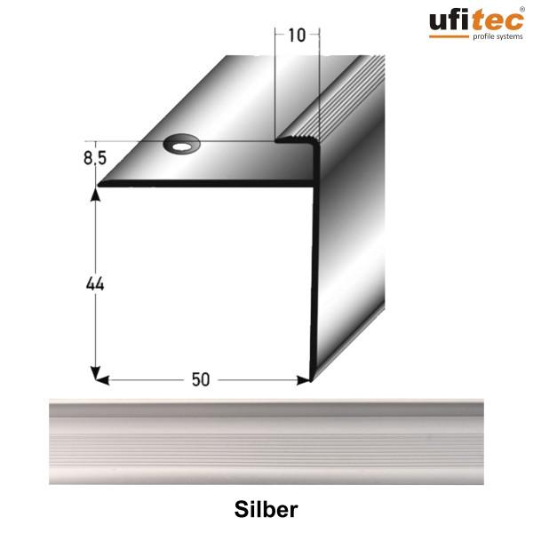 ufitec® Einschubprofil mit langer Nase Treppenabschlussprofil - für Belagshöhen 8 mm - Alu eloxiert