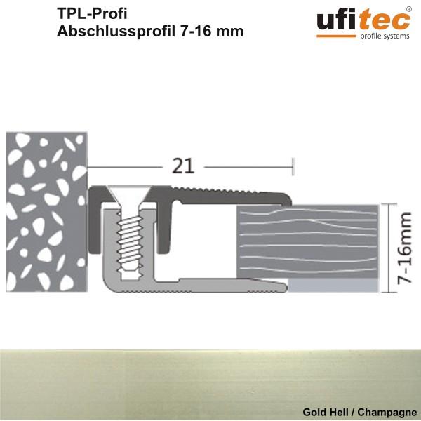 Abschlußprofil ufitec® TPL-PROFI für Laminat- und Parkettböden - für Belagshöhen von 7-16 mm