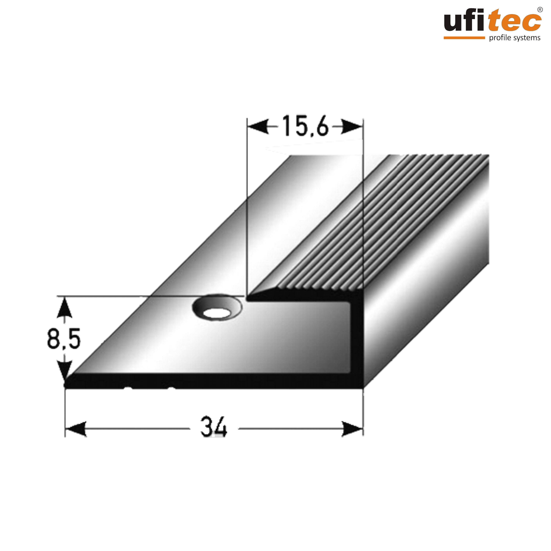ufitec/® TPL Profi MAX Profilsystem f/ür Parkettb/öden geeignet f/ür Belagsh/öhen von 14-21 mm H/öhenausgleichsprofil | L/änge: 90 cm, Silber ALU eloxiert