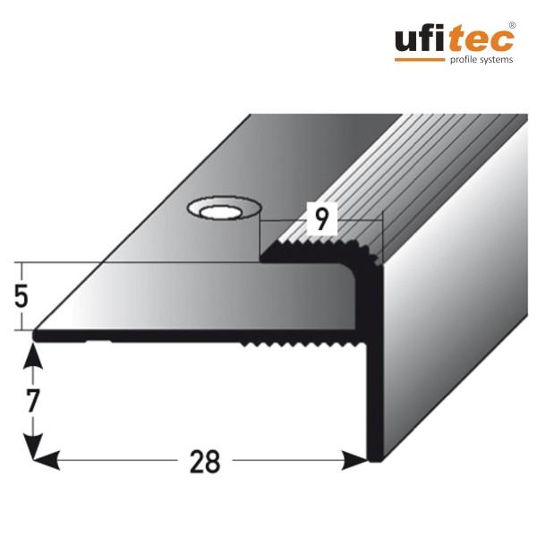 ufitec® Einschubprofil für Belagshöhen bis 5 mm | 7 mm Nase Treppen-/Stufen Abschlussprofil