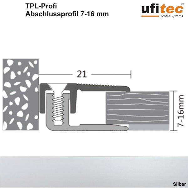 Abschlußprofil ufitec® TPL-PROF Laminat- und Parkettprofil für Belagshöhen von 7-16 mm