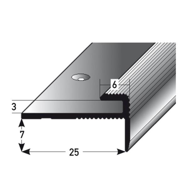 ufitec® Einschubprofil für Belagshöhen bis 3 mm mit 7 mm Nase Treppen-/Stufen Abschlussprofil