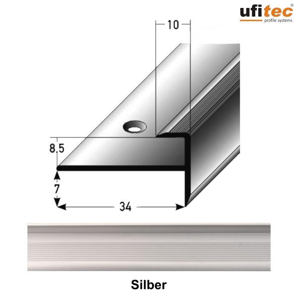 ufitec® Einschubprofil mit Nase/Treppenabschlussprofil - für Belagshöhen von 7-15 mm - Alu eloxiert