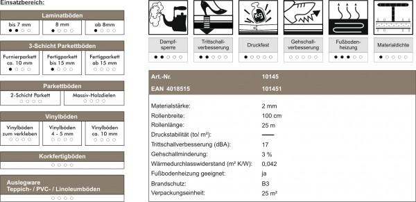 uficell® EASY PE-Schaum Trittschalldämmung - Laminat- und Parkettunterlage, Stärke: 2 mm