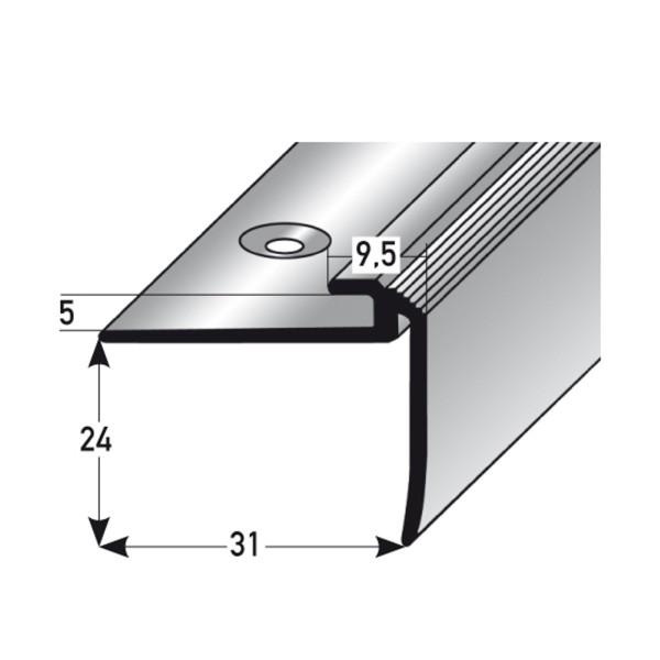 ufitec® Einschubprofil für Belagshöhen bis 5 mm | 24 mm Nase Treppen-/Stufen Abschlussprofil